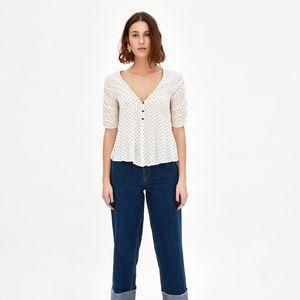 NWT Zara SS18 Size XS V-neck Top Draped Sleeve